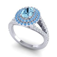 Ornate Oval Halo Dhala Aquamarine Ring with Swiss Blue Topaz and Diamond in 14k White Gold