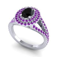 Ornate Oval Halo Dhala Black Onyx Ring with Amethyst in Platinum