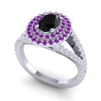 Ornate Oval Halo Dhala Black Onyx Ring with Amethyst and Diamond in Palladium