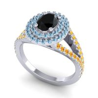 Ornate Oval Halo Dhala Black Onyx Ring with Aquamarine and Citrine in 14k White Gold