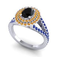 Ornate Oval Halo Dhala Black Onyx Ring with Citrine and Blue Sapphire in 18k White Gold