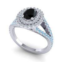 Ornate Oval Halo Dhala Black Onyx Ring with Diamond and Aquamarine in Palladium