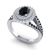 Ornate Oval Halo Dhala Black Onyx Ring with Diamond in Platinum
