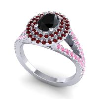 Ornate Oval Halo Dhala Black Onyx Ring with Garnet and Pink Tourmaline in Palladium