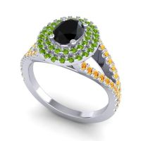 Ornate Oval Halo Dhala Black Onyx Ring with Peridot and Citrine in Platinum