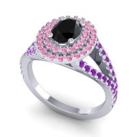 Ornate Oval Halo Dhala Black Onyx Ring with Pink Tourmaline and Amethyst in 18k White Gold