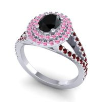 Ornate Oval Halo Dhala Black Onyx Ring with Pink Tourmaline and Garnet in Platinum