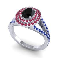 Ornate Oval Halo Dhala Black Onyx Ring with Ruby and Blue Sapphire in Palladium