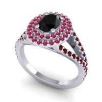 Ornate Oval Halo Dhala Black Onyx Ring with Ruby and Garnet in Platinum