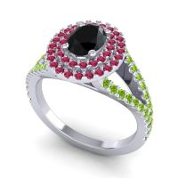 Ornate Oval Halo Dhala Black Onyx Ring with Ruby and Peridot in Palladium