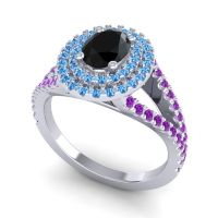 Ornate Oval Halo Dhala Black Onyx Ring with Swiss Blue Topaz and Amethyst in 18k White Gold