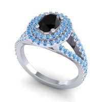 Ornate Oval Halo Dhala Black Onyx Ring with Swiss Blue Topaz in 14k White Gold