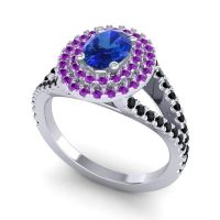 Ornate Oval Halo Dhala Blue Sapphire Ring with Amethyst and Black Onyx in Platinum
