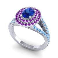 Ornate Oval Halo Dhala Blue Sapphire Ring with Amethyst and Swiss Blue Topaz in Platinum