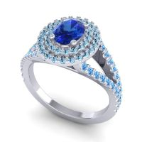 Ornate Oval Halo Dhala Blue Sapphire Ring with Aquamarine and Swiss Blue Topaz in 14k White Gold