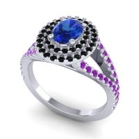 Ornate Oval Halo Dhala Blue Sapphire Ring with Black Onyx and Amethyst in 18k White Gold