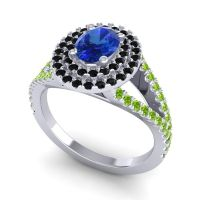 Ornate Oval Halo Dhala Blue Sapphire Ring with Black Onyx and Peridot in 18k White Gold