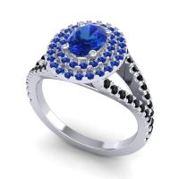 Ornate Oval Halo Dhala Blue Sapphire Ring with Black Onyx in 14k White Gold