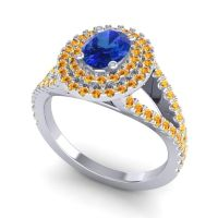 Ornate Oval Halo Dhala Blue Sapphire Ring with Citrine in 14k White Gold