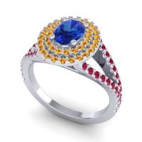 Ornate Oval Halo Dhala Blue Sapphire Ring with Citrine and Ruby in Palladium