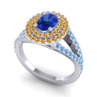 Ornate Oval Halo Dhala Blue Sapphire Ring with Citrine and Swiss Blue Topaz in Palladium