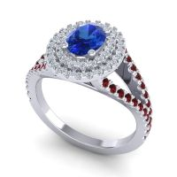 Ornate Oval Halo Dhala Blue Sapphire Ring with Diamond and Garnet in 18k White Gold