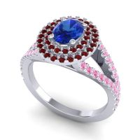 Ornate Oval Halo Dhala Blue Sapphire Ring with Garnet and Pink Tourmaline in 18k White Gold