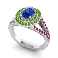 Ornate Oval Halo Dhala Blue Sapphire Ring with Peridot and Ruby in 18k White Gold