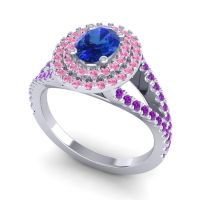 Ornate Oval Halo Dhala Blue Sapphire Ring with Pink Tourmaline and Amethyst in 18k White Gold