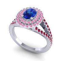 Ornate Oval Halo Dhala Blue Sapphire Ring with Pink Tourmaline and Ruby in Platinum