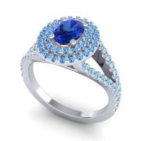 Ornate Oval Halo Dhala Blue Sapphire Ring with Swiss Blue Topaz and Aquamarine in 18k White Gold