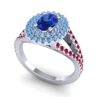 Ornate Oval Halo Dhala Blue Sapphire Ring with Swiss Blue Topaz and Ruby in Palladium