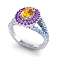 Ornate Oval Halo Dhala Citrine Ring with Amethyst and Swiss Blue Topaz in 14k White Gold