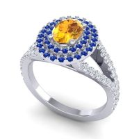Ornate Oval Halo Dhala Citrine Ring with Blue Sapphire and Diamond in 14k White Gold