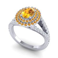 Ornate Oval Halo Dhala Citrine Ring with Diamond in Palladium