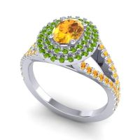 Ornate Oval Halo Dhala Citrine Ring with Peridot in Palladium