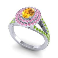 Ornate Oval Halo Dhala Citrine Ring with Pink Tourmaline and Peridot in Palladium