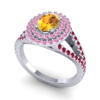 Ornate Oval Halo Dhala Citrine Ring with Pink Tourmaline and Ruby in Platinum