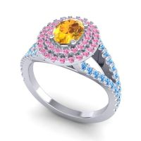 Ornate Oval Halo Dhala Citrine Ring with Pink Tourmaline and Swiss Blue Topaz in Platinum