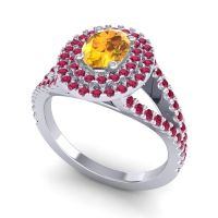 Ornate Oval Halo Dhala Citrine Ring with Ruby in Palladium