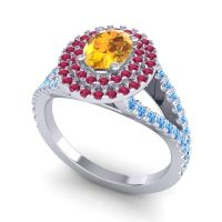 Ornate Oval Halo Dhala Citrine Ring with Ruby and Swiss Blue Topaz in 18k White Gold