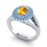 Ornate Oval Halo Dhala Citrine Ring with Swiss Blue Topaz and Diamond in 14k White Gold