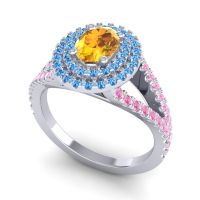 Ornate Oval Halo Dhala Citrine Ring with Swiss Blue Topaz and Pink Tourmaline in Palladium
