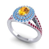 Ornate Oval Halo Dhala Citrine Ring with Swiss Blue Topaz and Ruby in 14k White Gold