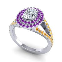 Ornate Oval Halo Dhala Diamond Ring with Amethyst and Citrine in Platinum