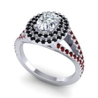 Ornate Oval Halo Dhala Diamond Ring with Black Onyx and Garnet in 14k White Gold
