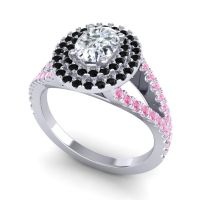 Ornate Oval Halo Dhala Diamond Ring with Black Onyx and Pink Tourmaline in Platinum