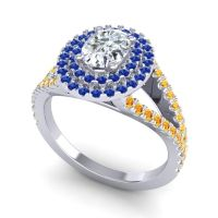 Ornate Oval Halo Dhala Diamond Ring with Blue Sapphire and Citrine in 14k White Gold