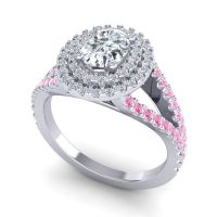 Ornate Oval Halo Dhala Diamond Ring with Pink Tourmaline in 18k White Gold