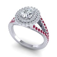 Ornate Oval Halo Dhala Diamond Ring with Ruby in Platinum